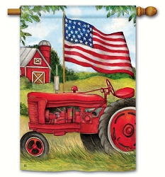 Patriotic Tractor House Flag