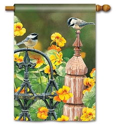 Chickadee Fence Post House Flag