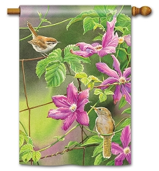 Wren with Purple Clematis House Flag