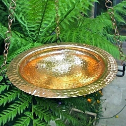 Hammered Polished Copper Hanging Birdbath w/Rim