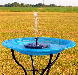 Blue Swirls Embossed Glass Solar Birdbath w/Stand