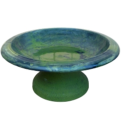 Tierra Garden Fiber Clay Birdbath w/Small Base Hunter Green