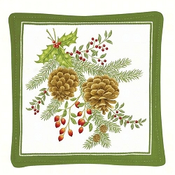 Holiday Pinecones Spiced Mug Mat Set of 4