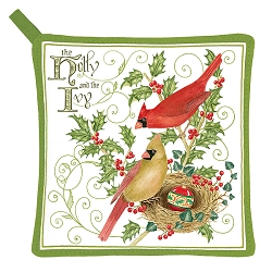 Holly and Ivy Potholder