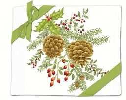 Holiday Pinecones Flour Sack Towel Set of 2