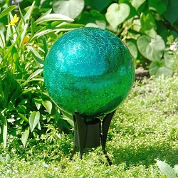 Crackle Glass Gazing Globe Emerald Green 12