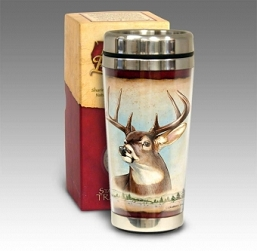 Whitetail Deer 16 oz. Steel Travel Mug