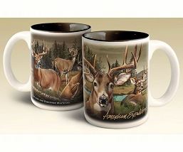 Whitetail Deer Collage Series 15 oz. Stoneware Coffee Mug Set of 2