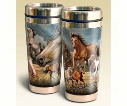 Mustang Collage Series 16oz Steel Travel Mug