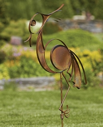 Flamed Copper Wading Bird Garden Stake
