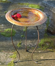 Golden Copperplated Round Birdbath with Stand