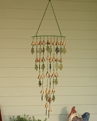 Shimmering Bells Verdigris/Copper Small Leaves Wall Hanging