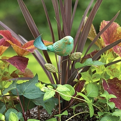 Teal Ceramic Bird Plant Pick Set of 3