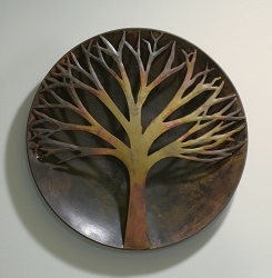 Flamed Copper Raised Tree Wall Disc 12