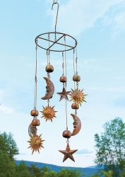 Flamed Copper Sun, Moon & Stars Mobile