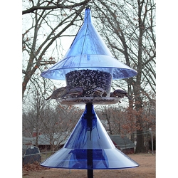 Sky Cafe Bird Feeder Sapphire Blue with Pole Baffle Kit