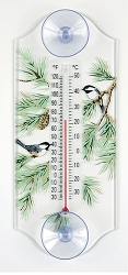 Chickadee/Pine Classic Window Thermometer