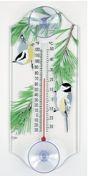 Chickadee/Nuthatch Classic Window Thermometer
