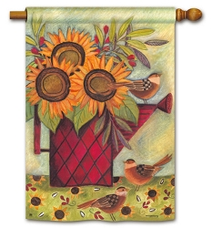 Sunflowers and Sparrows House Flag