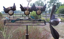 Dancing Owls Whirligig w/Pole