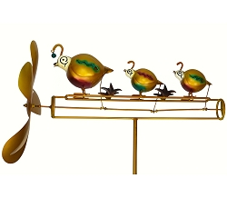 Quail Family Whirligig with Pole