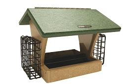 Birds Choice Recycled Plastic 4 Quart 2-Sided Hopper Feeder w/Suet Cages