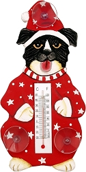 Holiday Dog in Pajamas Window Thermometer Small