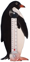 Penguin in Profile Window Thermometer Small