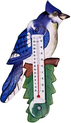 Blue Jay on Branch Window Thermometer Small