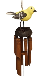 For The Birds Goldfinch Bamboo Windchime