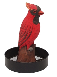 Sitting Cardinal Round Metal Tray Bird Feeder