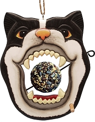 Black and White Cat Face Fruit and Seed Ball Feeder