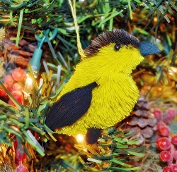 Brushart Bird Ornament Goldfinch