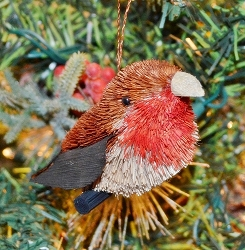Brushart Bird Ornament Robin