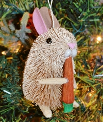 Brushart Rabbit with Carrot Ornament