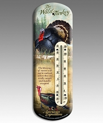 Wild Turkey 3-D Tin Back Porch Thermometer