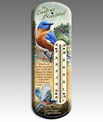Eastern Bluebird 3-D Tin Back Porch Thermometer