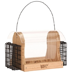 Bamboo 4 Qt Hopper Feeder with Suet Cages