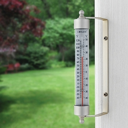 Decor Indoor/Outdoor Thermometer Satin Nickel