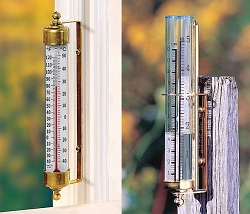 Vermont Outdoor Thermometer & Rain Gauge Combo Living Finish Brass