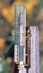 Vermont Rain Gauge Brass w/Verdigris Leaves