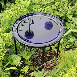 Crackle Glass Birdbath Cobalt Blue with Ring Stand