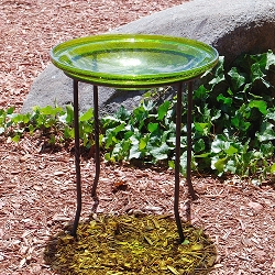 Crackle Glass Birdbath Fern Green with Ring Stand