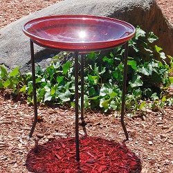 Crackle Glass Birdbath Red with Ring Stand