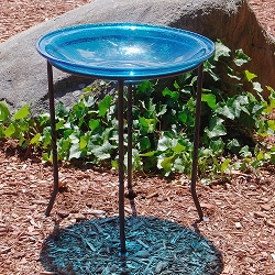 Crackle Glass Birdbath Teal with Ring Stand