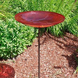 Crackle Glass Birdbath Stake Red