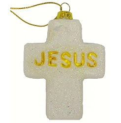 Cross Jesus Blown Glass Ornament