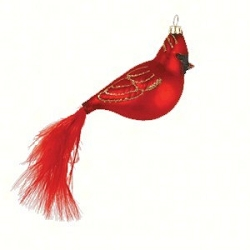 Cobane Studio Cardinal with Feather Tail Blown Glass Ornament