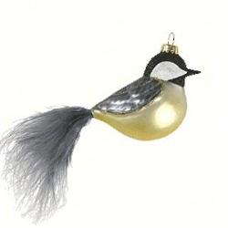 Cobane Studio Chickadee with Feather Tail Blown Glass Ornament