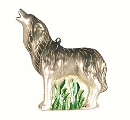 Howling Timberwolf Blown Glass Ornament